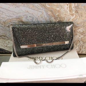 New Jimmy Choo Margot Glitter Chain Clutch Bag